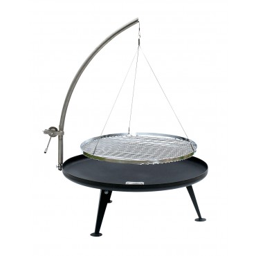 Fire Pit Ø 80cm Holzkohlegrill (Patina Look), Arm mit Winde