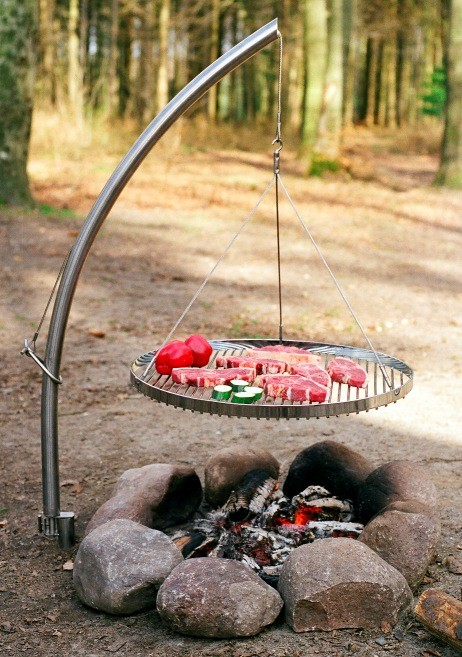Swing Grill W Hanger And Round Grid Bbq Shop Fire