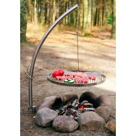 Stainless Steel Swing Grill Barbecue - Spear w. Hanger and round grid