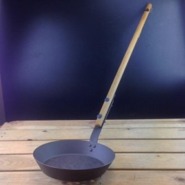 Netherton (26cm) Spun Iron Garden Frying Pan, Steel, w. Oak Wooden Handle